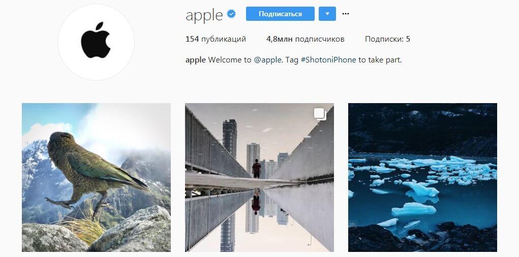 Профиль в инстаграм Apple