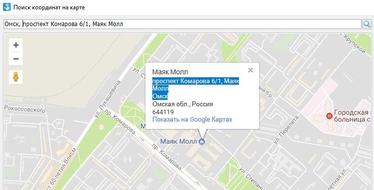 Указываем адрес на карте
