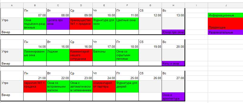Пример контент плана