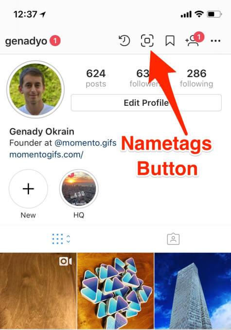 Nametags в профиле инстаграм