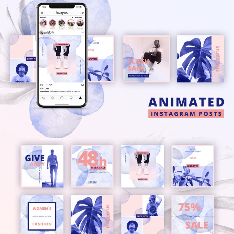 Шаблон для соцсетей ANIMATED Instagram Posts & Bold