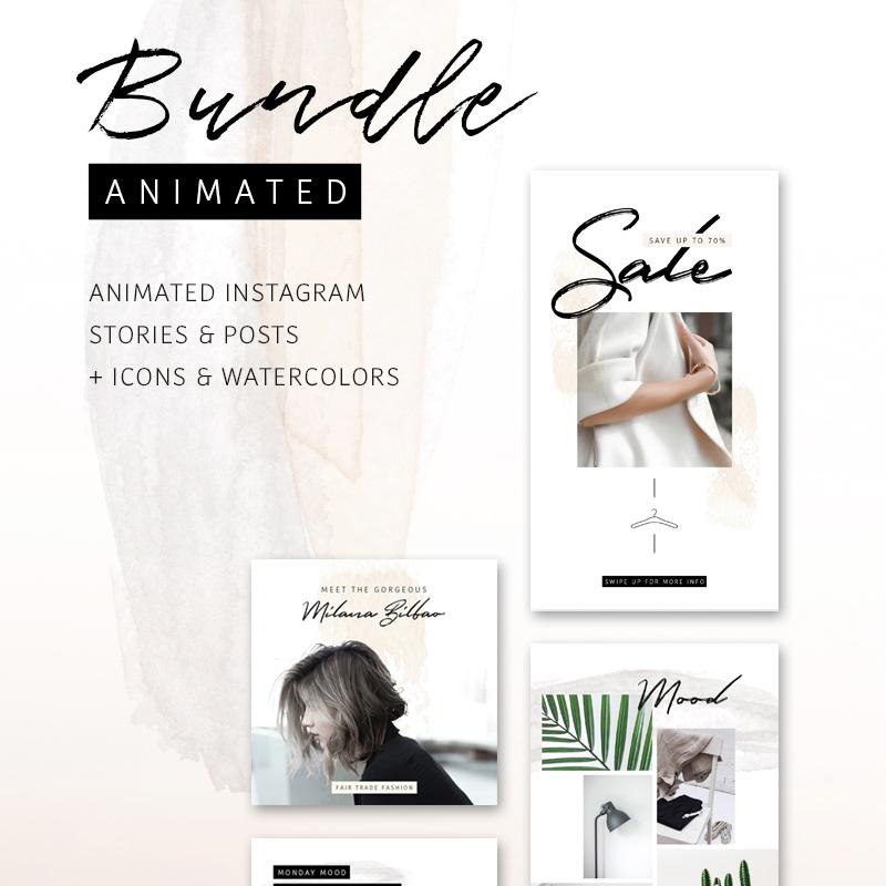 Шаблон для соцсетей BUNDLE: ANIMATED Instagram Stories & Posts So Female
