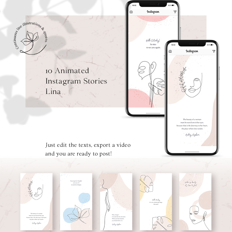 Шаблон для соцсетей ANIMATED Instagram Stories — Lina
