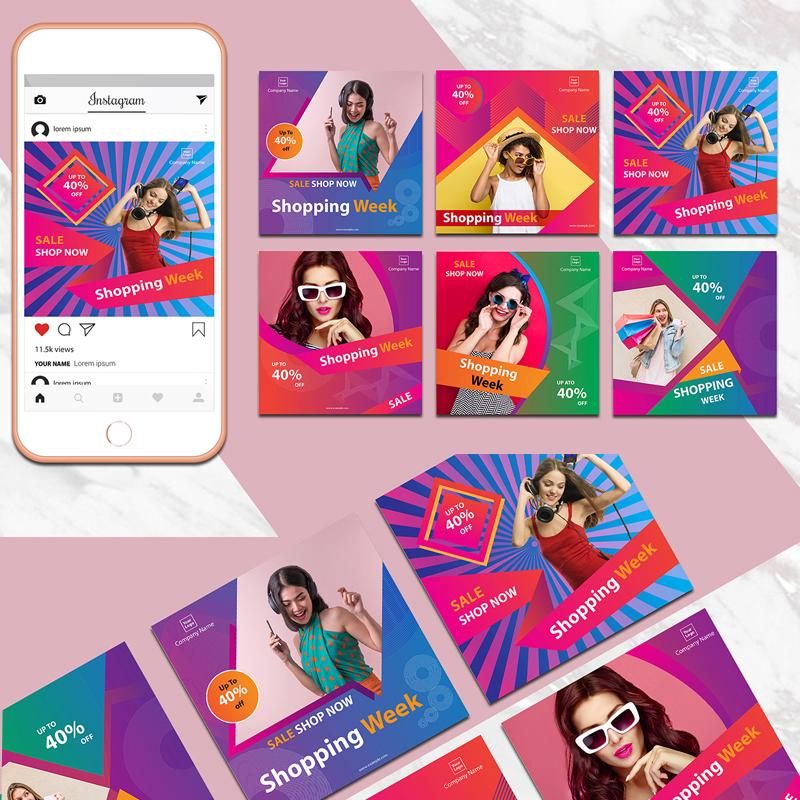Шаблон для соцсетей Colorful Instagram Banner Pack