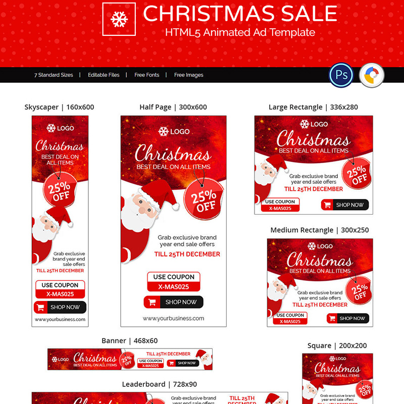 Animated Banner Shopping & E-commerce | Christmas Sale Ads