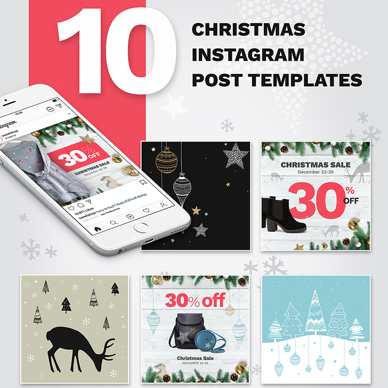 10 Christmas Instagram Post Templates №74181