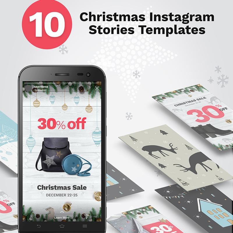 Шаблон для соцсетей 10 Christmas Instagram Stories Banners