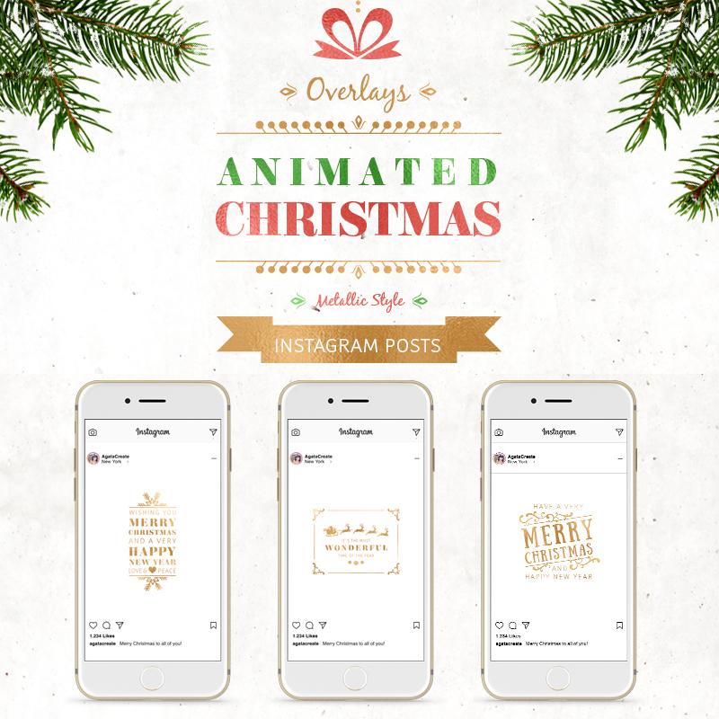 Шаблон для соцсетей ANIMATED Christmas Posts †Metallic